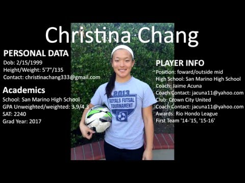Christina Chang Class of 2017 High School Girls Soccer Highlights