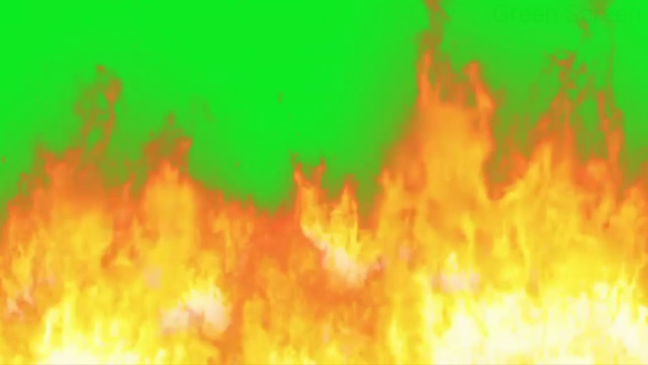 big fire on green screen