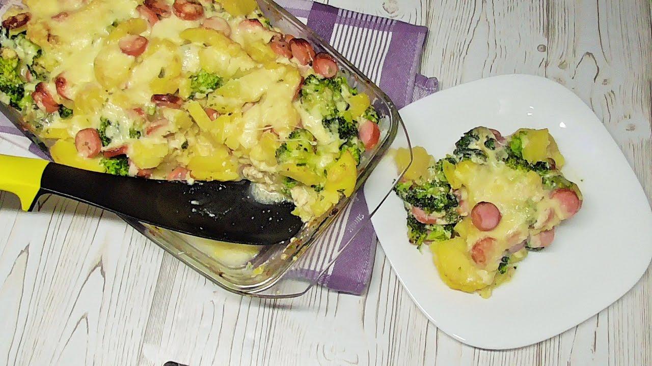 Zapiekanka ziemniaczana z brokulami i paröwka /Kasia ze slaska gotuje
