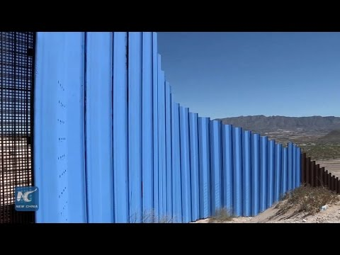 Visual artists paint blue Mexico's border fence with U.S.
