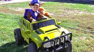Kid ride on Power Wheels Jeep with Paw Patrol Mission Monkey Toys video for Children