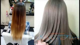 Выравнивание цвета волос с помощью сложного мелирования | Рецепт окрашивания и схема