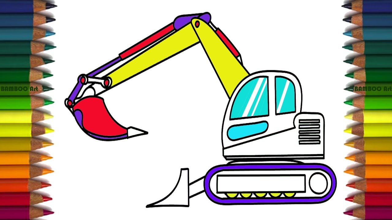 learn colors for kids with excavator how to draw for kids car