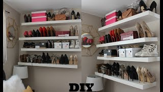 HOW TO: DIY SUPER EASY FLOATING SHELVES (FOR SHOES AND BAGS) #GirlPower