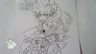How to draw Hyper mode Tsuna 沢田綱吉  Part 1-Inking