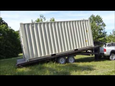 Shipping Container Trailer >> Tilt Trailer Unloading 20 Shipping Container Youtube