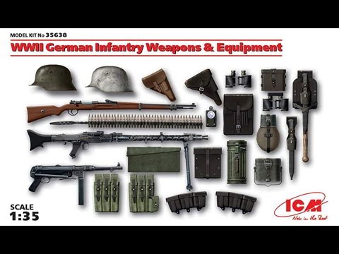 Обзор набора от ICM - 1/35 Оружие и обмундирование немецкой пехоты времен 2й мировой войны