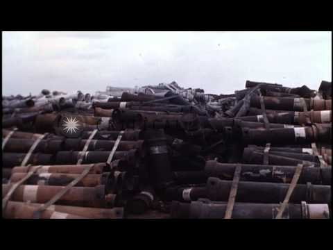 Burned out 105mm howitzer shells at ammunition dump in Bien Hoa Air Force Base, B...HD Stock Footage