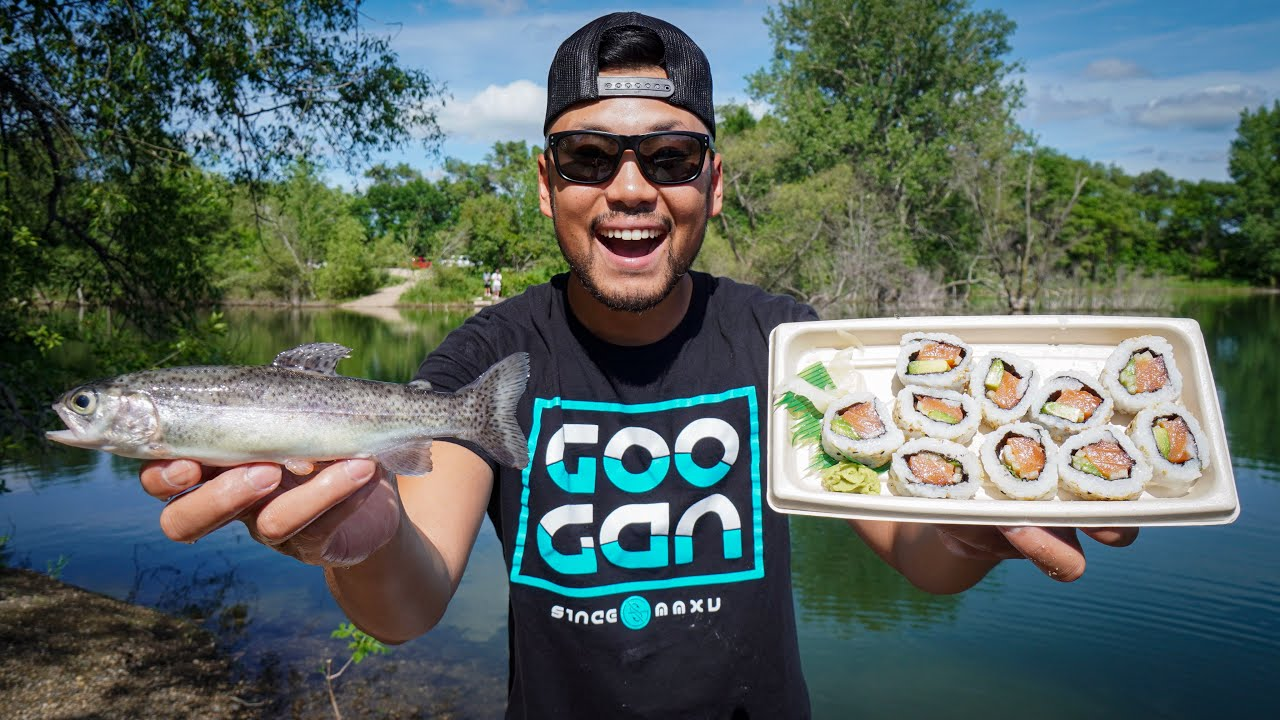Wild Fresh Trout Sushi! (CATCH CLEAN COOK)