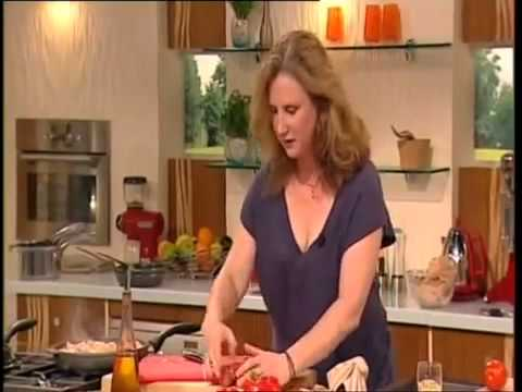 ANGELA HARTNETT and JAMES MARTIN Chicken with chorizo  peppers and sage with spiced aubergine