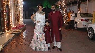 Shilpa Shetty With Family | Shilpa Shetty's Diwali Grand Party 2017
