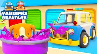 Çizgi film Yardımcı arabalar - Polis arabası ve köpek yavrusu Çocuklar için