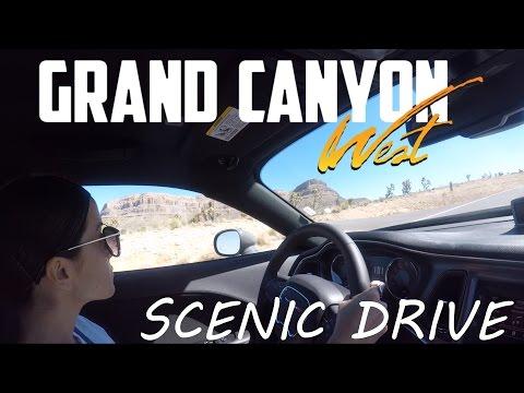 CAR DRIVING - SCENIC DRIVE GRAND CANYON WEST SKYWALK Arizona Travel National Park Las Vegas