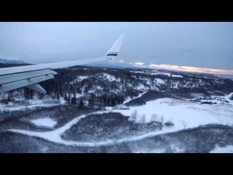 Arctic Landing at Anchorage Ted Stevens Airport, Alaska Airlines, Boeing 737