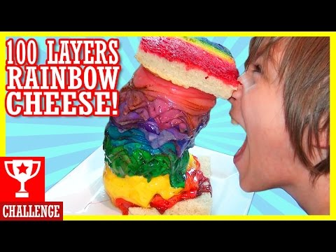 100 LAYERS OF RAINBOW GRILLED CHEESE! #RainbowCheeseMountain | DIY Pintrest Trend |  KITTIESMAMA