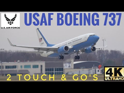 United State Air Force Boeing 737 Airplane Performing 2 Touch & Go's C-40C Clipper 05-0932