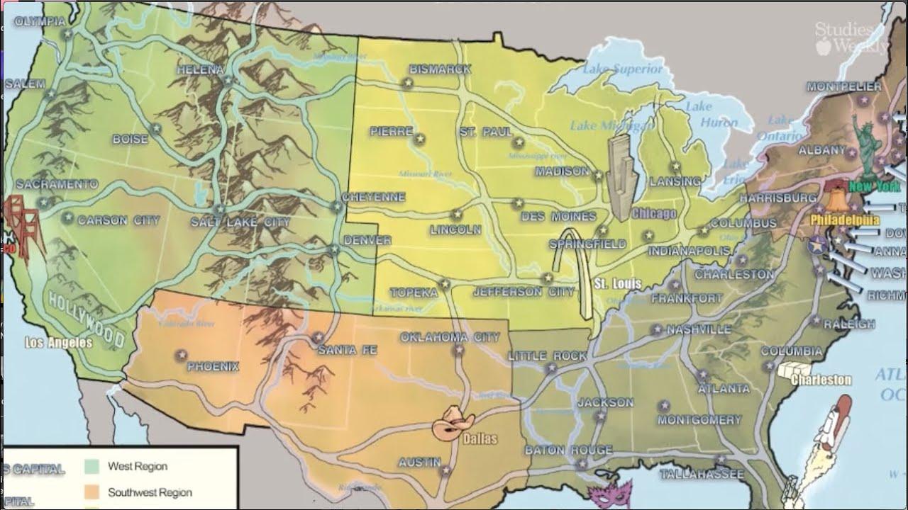 Mapa Politico De Eeuu Con Sus Estados Y Ciudades.Las Regiones De Los Estados Unidos Espanol