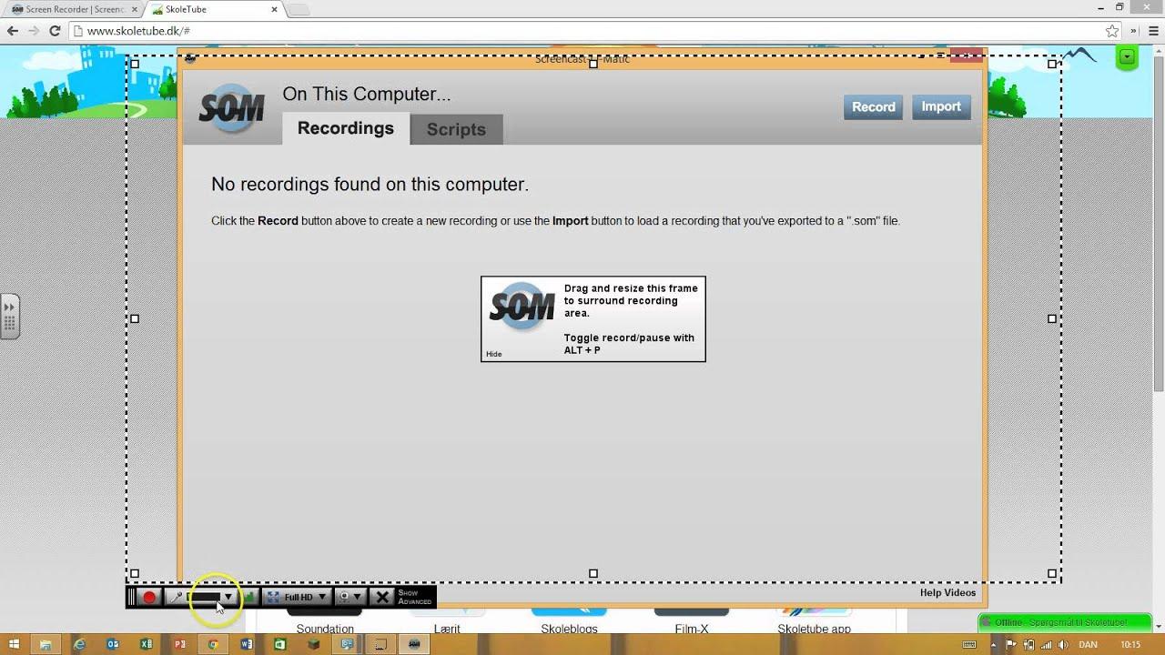 Sådan bruger du screencast-o-matic på skoletube