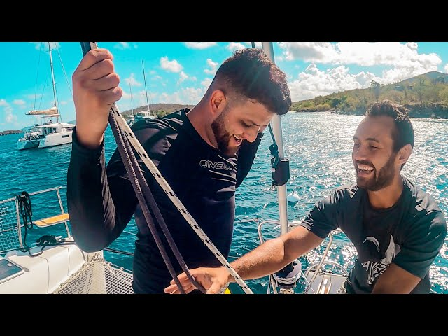 SAILBOAT LIVING WITH FRIENDS | Sailing Catamaran In USVI