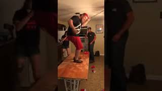 Drunk Guy Dancing on Table Falls and Destroys Ceiling Light 1049532