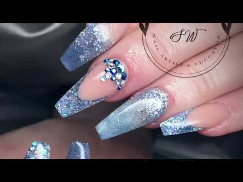 Blue Glitter Acrylic Nails Design Nail Art