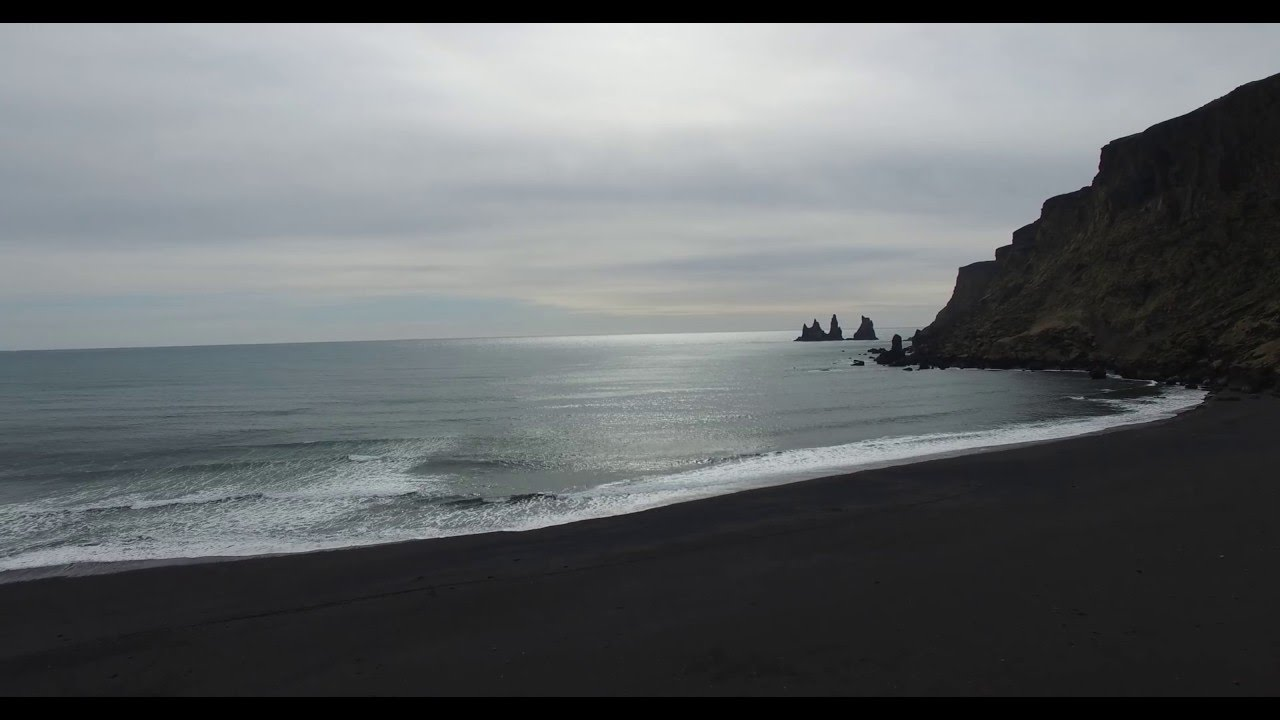 black sand beach vik iceland youtube. Black Bedroom Furniture Sets. Home Design Ideas