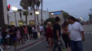 Riots after US Open in Huntington Beach, CA