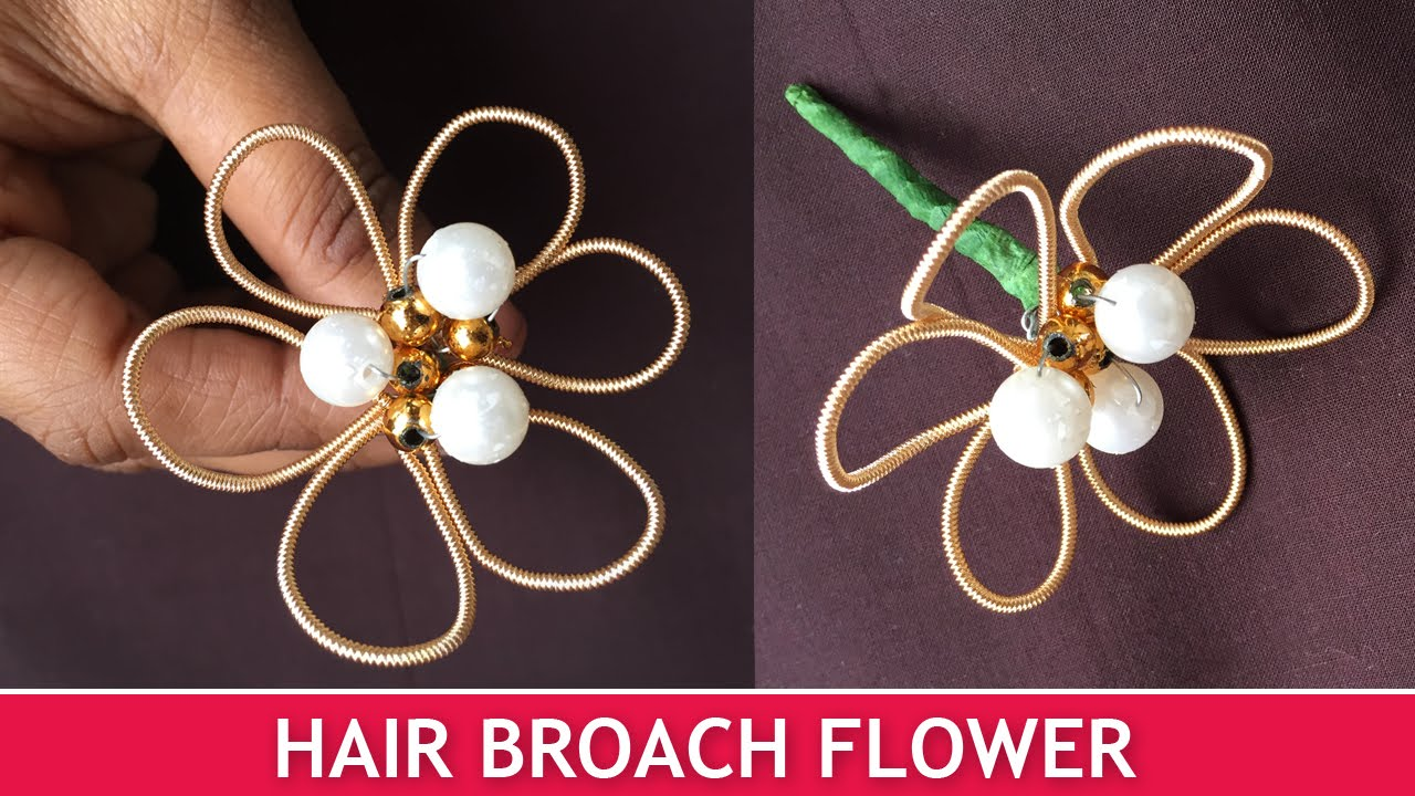 How To Make Hair Broach Flowers Easy Brooch Tutorial For Beginners You