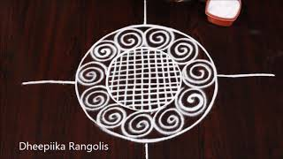 simple and easy lotus rangoli design l freehand lotus kolam design l Easy rangoli