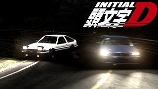 Race between a Nissan Skyline R34 GTR V-spec and a Toyota AE86 True...