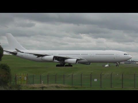 Hi Fly Malta A340 takes off at Birmingham International Airport, BMX 11/10/17
