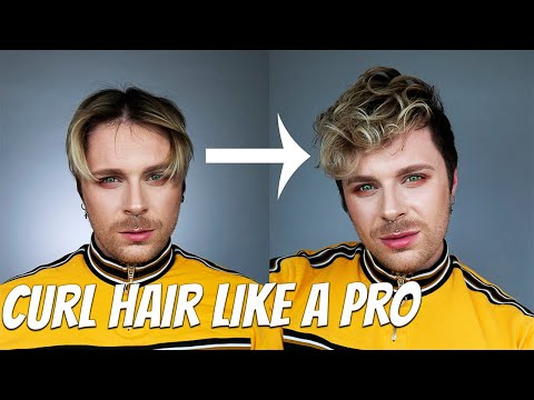 How To Curl Men's Hair With A Curling Iron | MEN'S STRAIGHT TO CURLY HAIR TUTORIAL