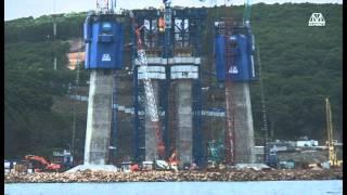 Владивосток. Строительство моста на остров Русский(Изображен весь период строительства моста с сентября 2008 года по ноябрь 2010 года, во Владивостоке через проли..., 2012-04-28T19:45:54.000Z)