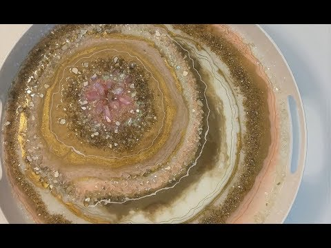 #41- A Pink And Gold Resin Geode Puddle Pour, On A Budget!