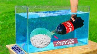 Experiment: Giant Mentos Balloon Put in Coca Cola Underwater
