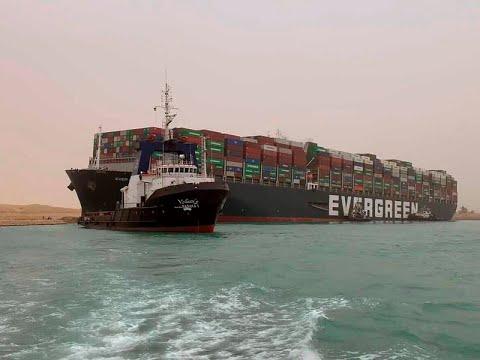 Massive Container Ship Runs Aground In Suez Canal Halting Traffic