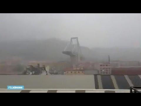 Eerste beelden instorten hangbrug Genua  - RTL NIEUWS