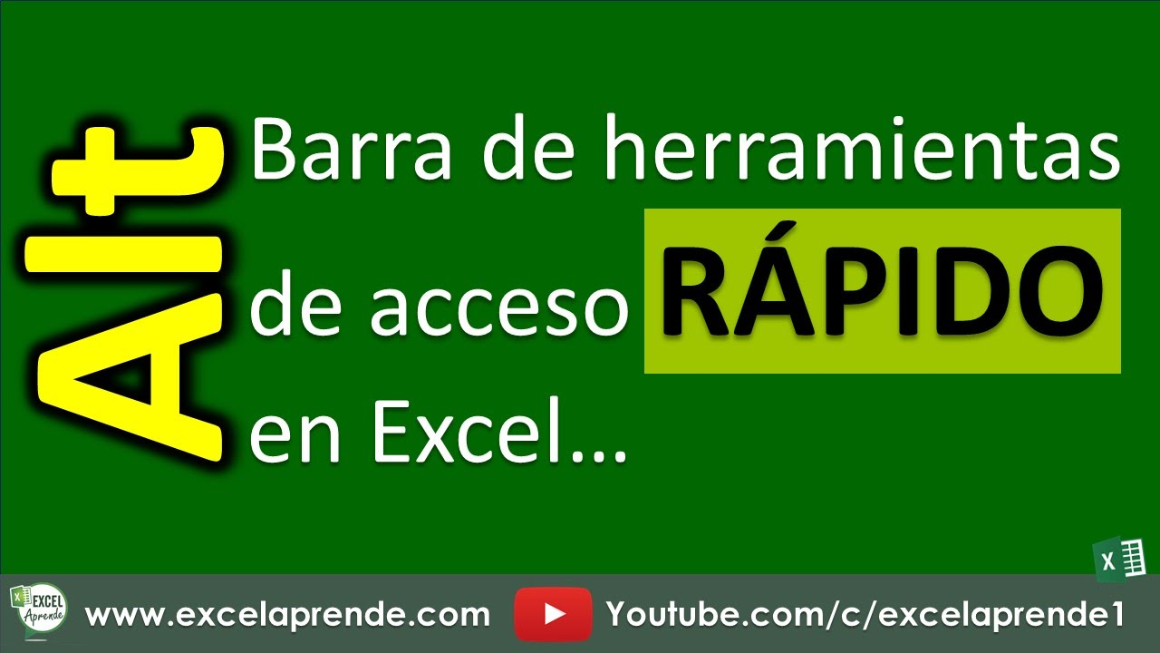 Barra de herramientas de acceso rápido en Excel - YouTube