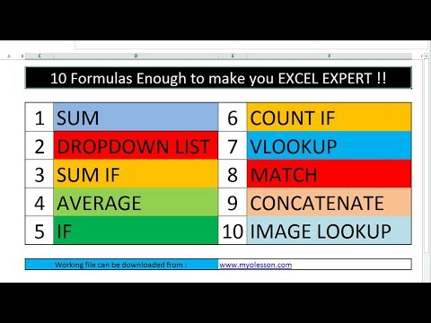 10 Most Important Excel Formula Can Make YOU Excel Expert URDU.HINDI