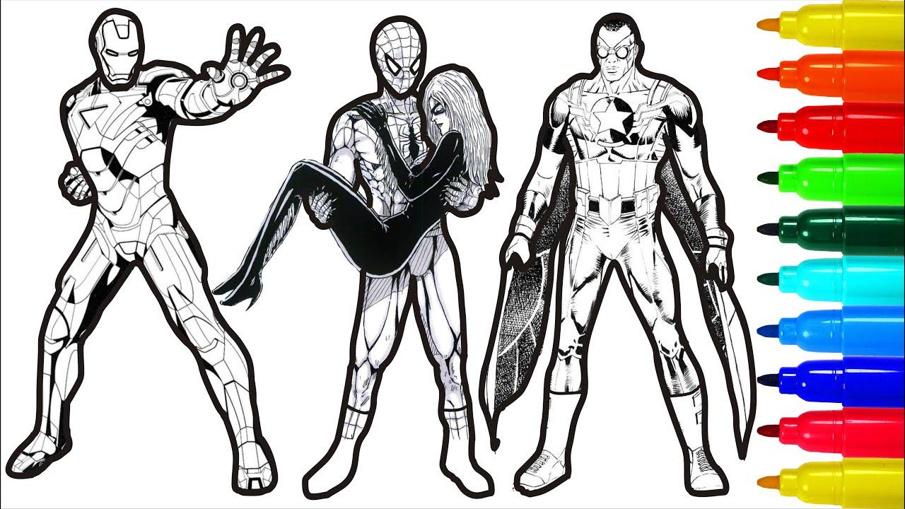 Spiderman Iron Man Thor Wolverine Captain America Coloring ...