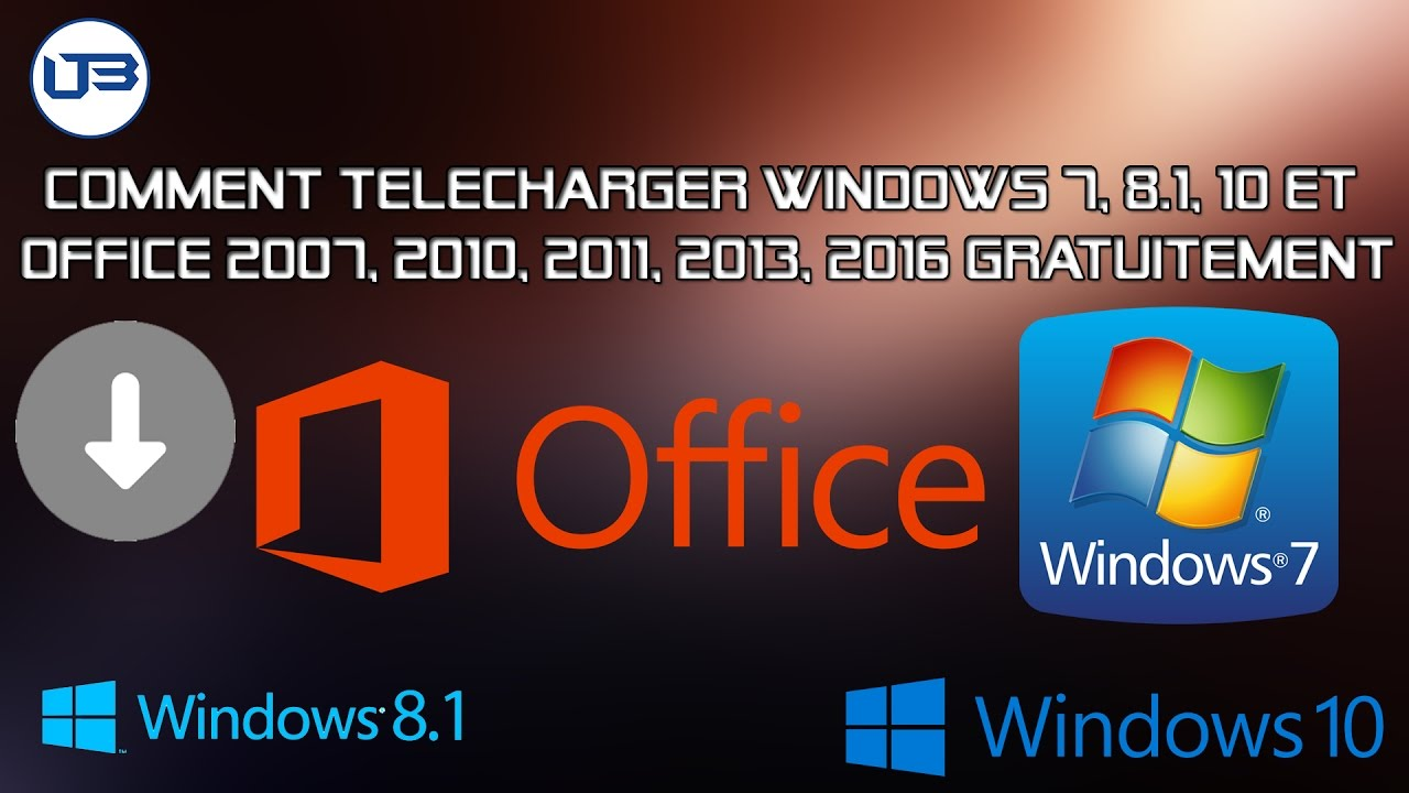 Comment t l charger windows 7 8 1 10 et office 2007 2010 2011 2013 2016 gratuitement youtube - Telecharger gratuitement office ...