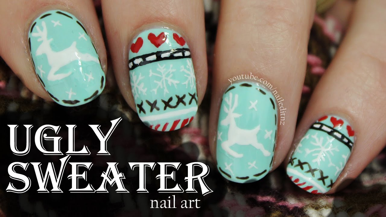Ugly Christmas Sweater Nail Art! - YouTube