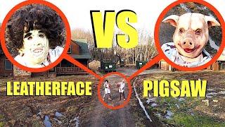 تمسك طائرة بدون طيار بـ LeatherFace VS Pigsaw (يقاتلون ولن تصدق ما يحدث)