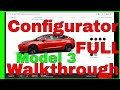 Tesla Model 3 Configurator Walkthrough Full with all options 4k