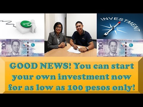 GOOD NEWS! You can start your own investment now for as low as 100 pesos only!