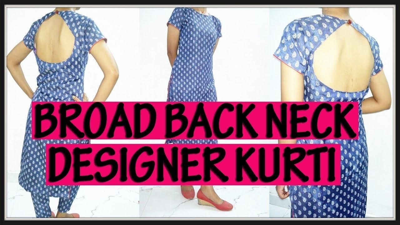 Back Broad Neck Designer Kurti | Cutting And Stitching | DIY - Tailoring  With Usha
