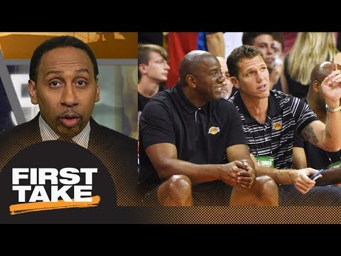 Stephen A. Smith not convinced by Magic Johnson's public support of Luke Walton | First Take | ESPN