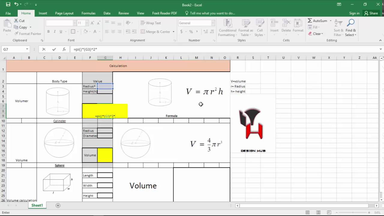 volume calculation using Excel formulation in Intrusting way