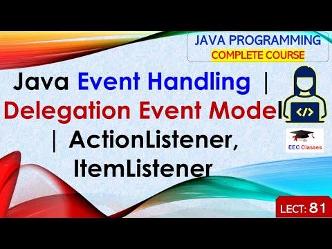 Java Event Handling, Delegation Event Model, ActionListener, ItemListener Etc..