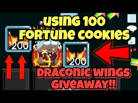 USING 100 Fortune Cookies !! + Draconic Wings Giveaway   Growtopia